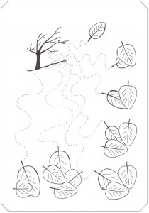 fall tree trace line worksheet