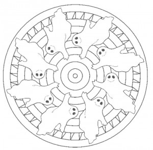 ghost mandala coloring page for kids