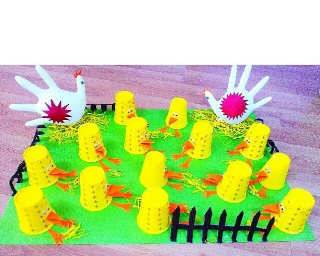 paper cup chick bulletin board