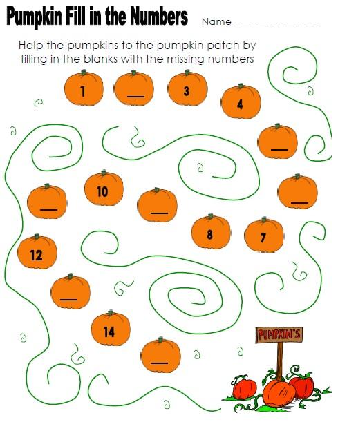 pumpkin worksheet for kids