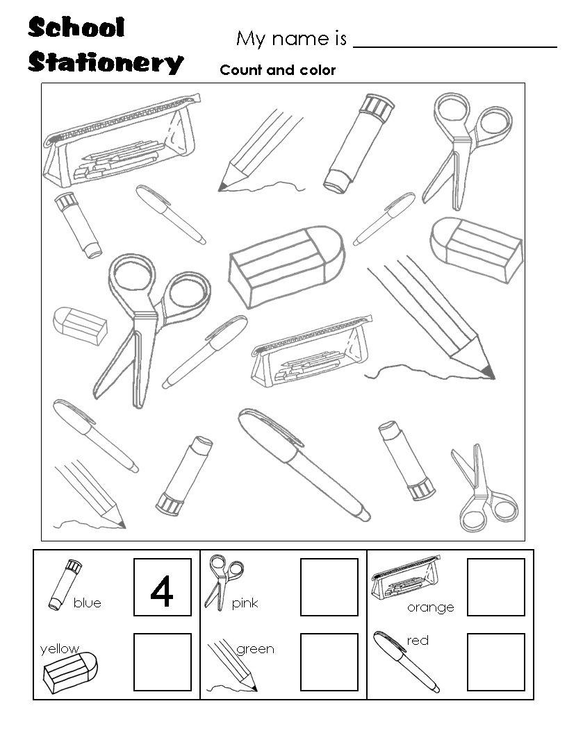 School Stationary Count Crafts And Worksheets For Preschool