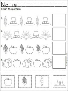 Thanksgiving pattern worksheet for Kindergarten