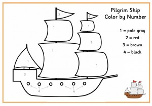 color by number pilgrim ship
