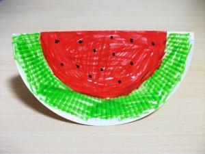 paper plate watermelon craft idea