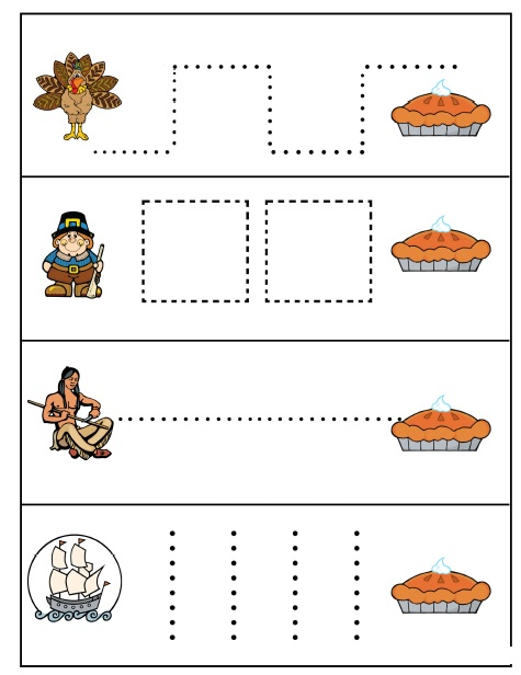 thanksgiving day trace line worksheet