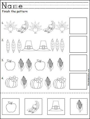 thanksgiving pattern worksheet for Kindergartens
