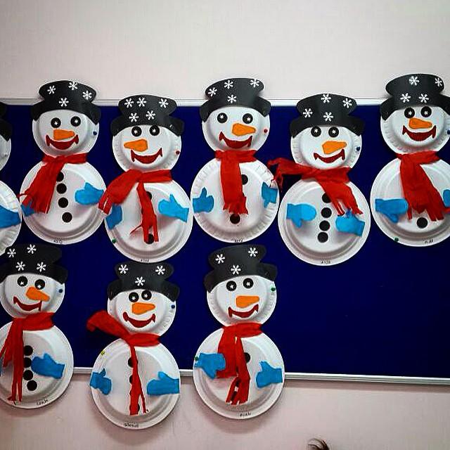 paper plate snowman craft idea