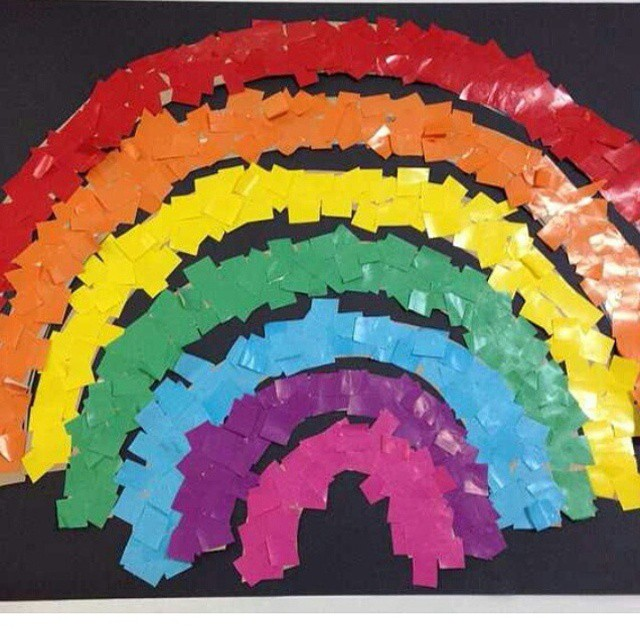 rainbow bulletin board idea for kids