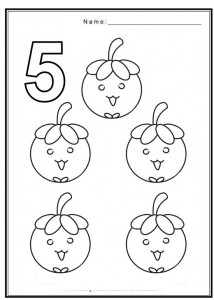 Free coloring pages of number 5 with fruit