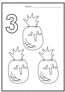 Free coloring pages of numbers 3 with fruit