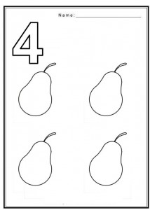 Free coloring pages of numbers 4 with fruit