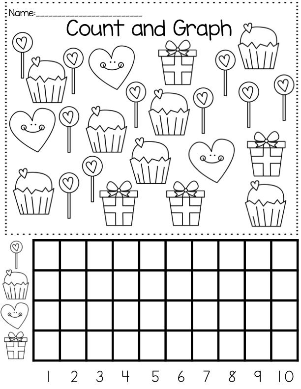 Valentine's Day Graph Crafts And Worksheets For Preschool,Toddler And  Kindergarten