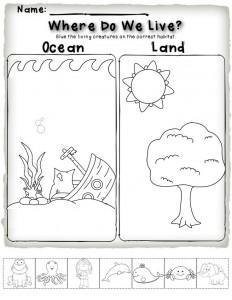 cut and paste animal habitat wworksheet for kids