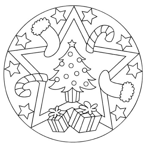 Christmas mandala coloring page for kids | Crafts and ...