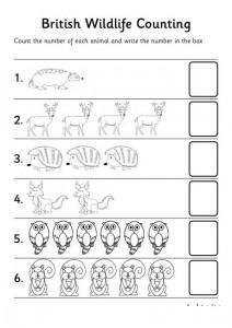 jungle animal number count worksheet