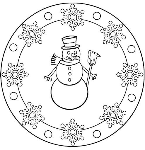 Snowman Mandala Coloring 1 Crafts And Worksheets For Preschool
