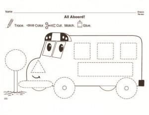 bus trace worksheet for kids