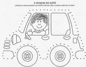 car trace worksheet for kids