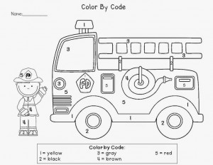 color by number fire truck worksheet