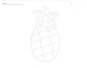 pineapple trace line worksheet for kids