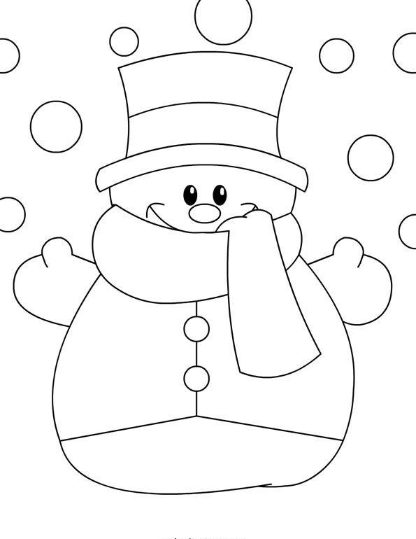 Snowman Coloring Page 1 Crafts And Worksheets For Preschool