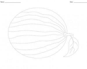 watermelon trace line worksheet for kids (1)