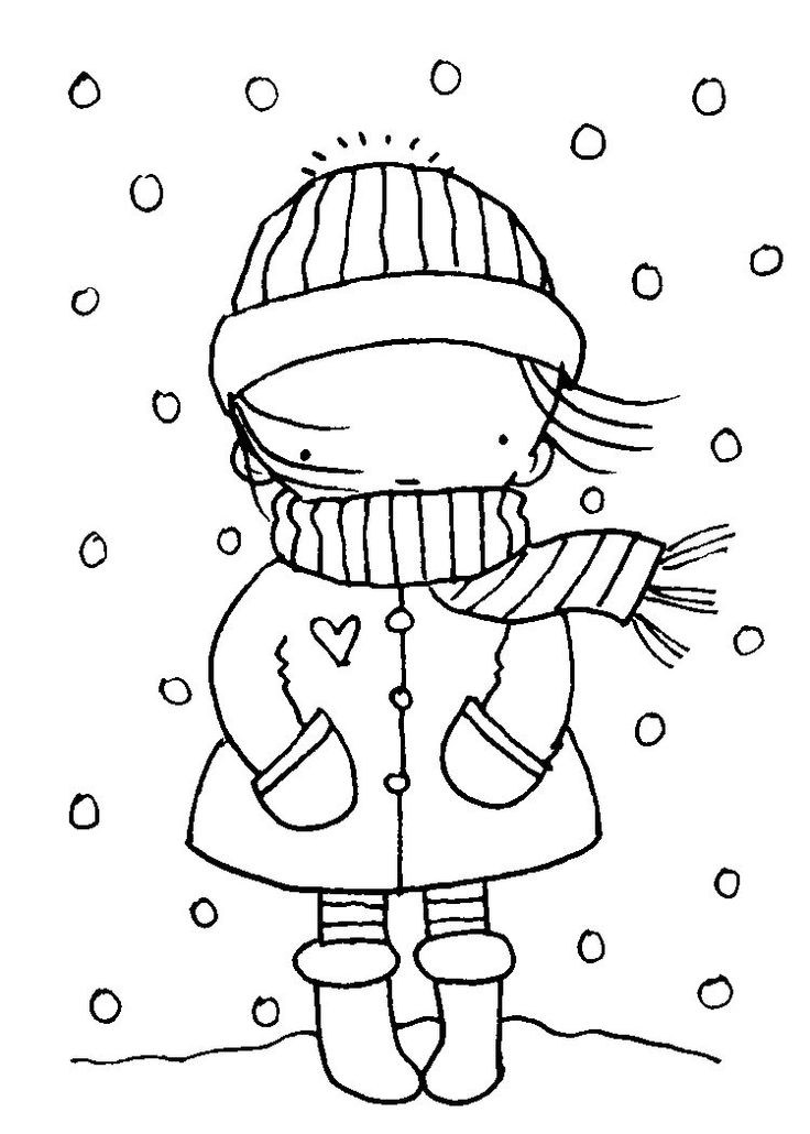 Winter Season Coloring Page – Winter Worksheets for Kindergarten