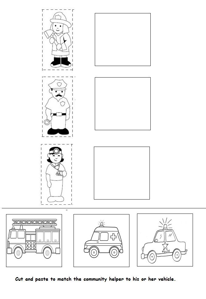 Community Helpers Assessment worksheet