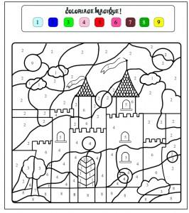 color by number castle worksheet
