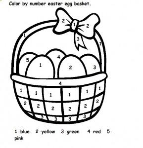 color by number easter egg basket