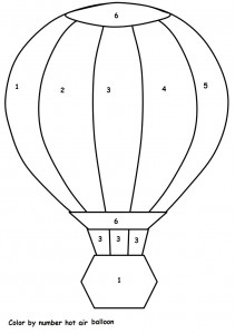 color by number hot air balloon