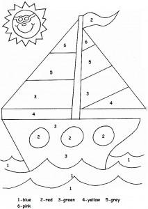 color by number sailboat worksheet