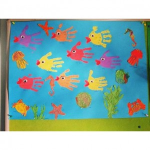 handprint fish bulletin board