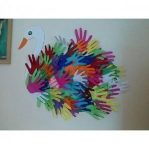 handprint swan bulletin board