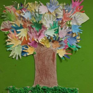 handprint tree bulletin board idea