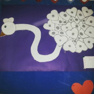 heart swan bulletin board