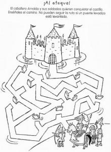 knight maze worksheet for kids