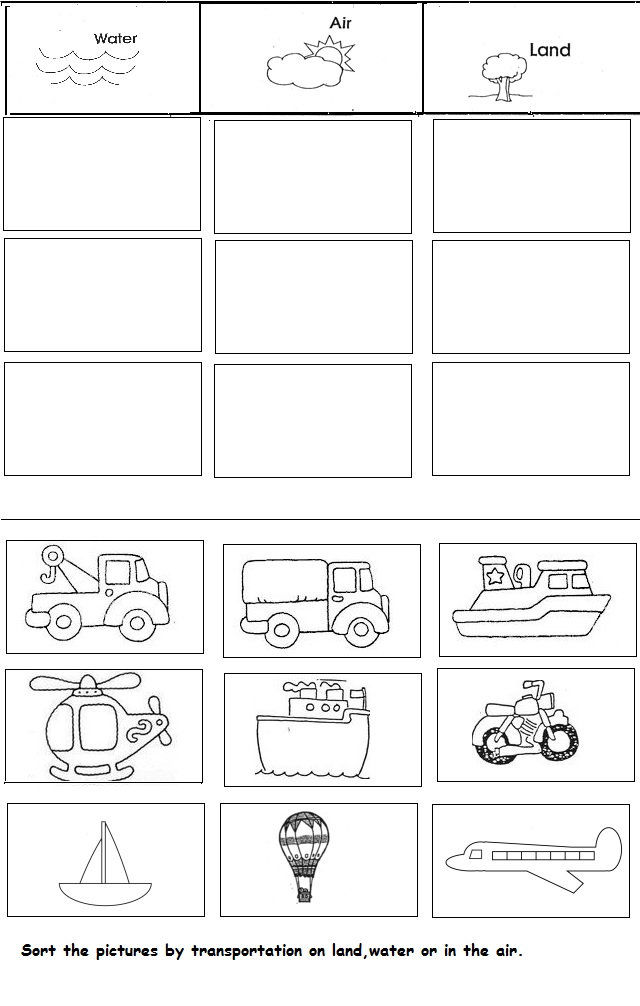 transportation unit worksheet for kindergarten