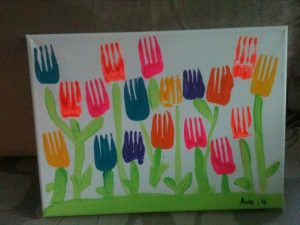 fork stamp tulip craft idea