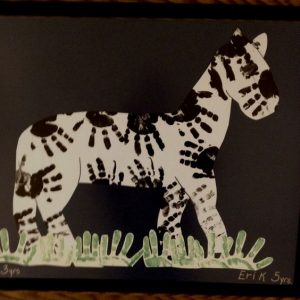 handprint zebra bulletin board idea