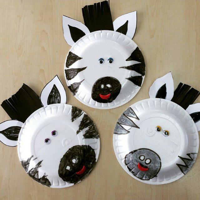 paper plate zebra craft idea for kids