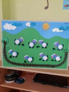 bottle cap sheep bulletin board