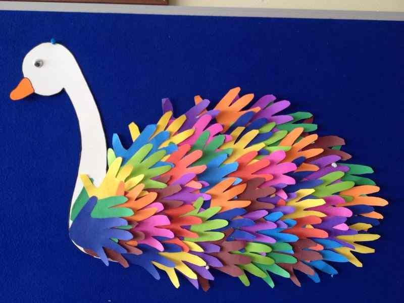 handprint swan craft