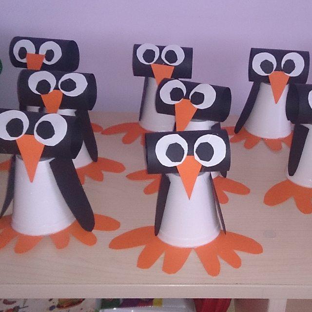 paper cup penguin craft idea