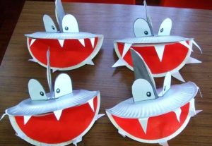paper plate shark craft idea