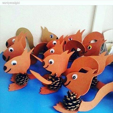 pine cone squirrel craft idea