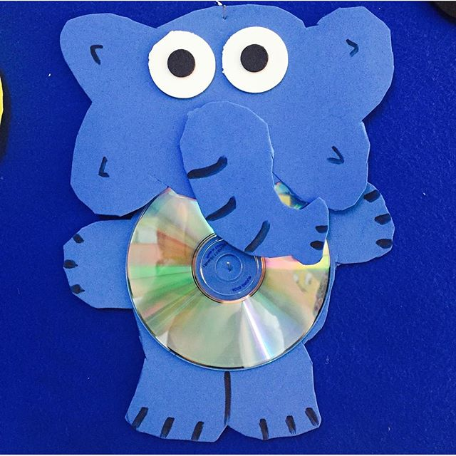 cd elephant craft idea for kids