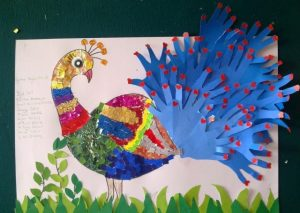 handprint peacock bulletin board idea for kids (2)