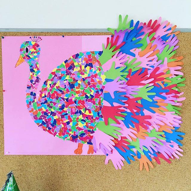 handprint peacock bulletin board idea