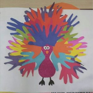 handprint peacock craft idea